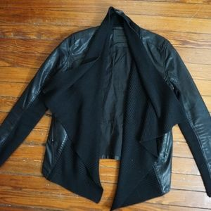 Black Leather and Sweater Jacket
